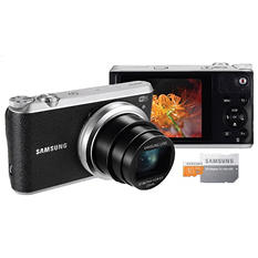 Samsung WB350F 16.3MP CMOS Smart Wi-Fi Camera Bundle with 21x Optical Zoom, and 16GB microSD card