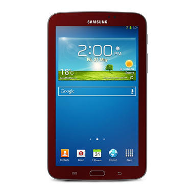 "Samsung Galaxy Tab 3, 7"" Garnet Red Edition w/ Book Cover"