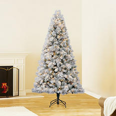 7.5 ft Hallmark Artificial Pre-Lit Sugared Spruce Christmas Tree
