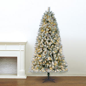 7.5' Hallmark Artificial Pre-Lit LED Snowden Spruce Quick Set Simple Shape Christmas Tree