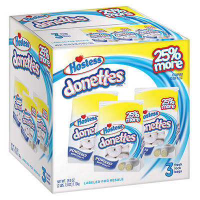 Hostess Powdered Sugar Donut (3 bag pack)