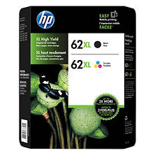 HP 62 XL, High-Yield Ink, Black; Tri-Color (2 pk., 600; 415 Page-Yield)