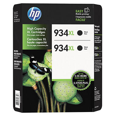 HP 934 XL High-Yield Ink, Black (2 pk., 1,000 Page Yield)