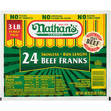 Nathan's Famous Skinless Beef Franks (3 lb.)