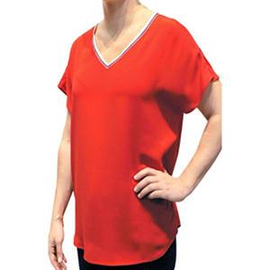 ABS Novelty Trimmed V-Neck Top