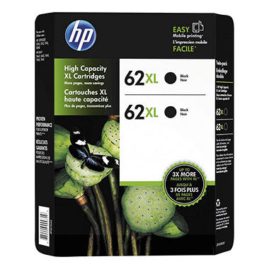 HP 62XL High Yield Original Ink Cartridge, Black (2 pk., 600 Page Yield)