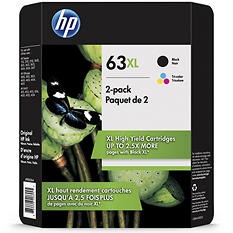 HP 63XL High Yield Orginial Ink Cartridge, Black/Tri-Color (2 pk., 480 Page Yield)