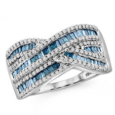 1.00 ct. t.w. Blue and White Diamond Waves Ring in Sterling Silver
