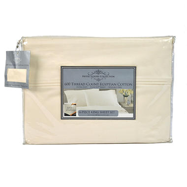 600TC Hotel Luxury Collection Solid Ivory Sheet Set - King