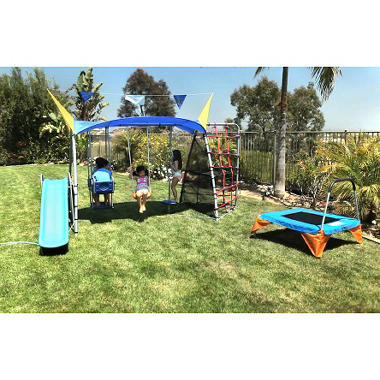Ironkids Premier 650 Total Fitness Playground Metal Swing Set with UV Protective Sunshade and Refreshing Mist