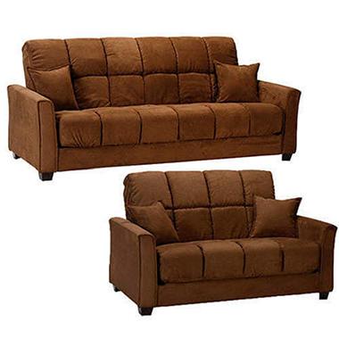 Baja Microfiber Sofa and Loveseat Set - Dark Brown