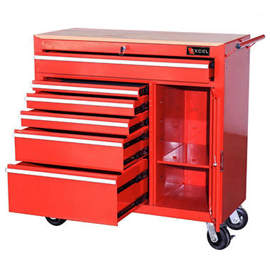 Excel - Heavy Duty Roller Cabinet with Side Drawers and Storage