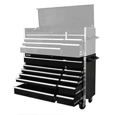 Excel - Heavy Duty Roller Cabinet with - Black - 12 Slide Drawers