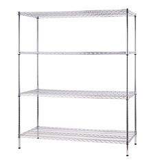 Excel NSF-Certified Heavy-Duty 4-Tier Wire Shelving - Chrome