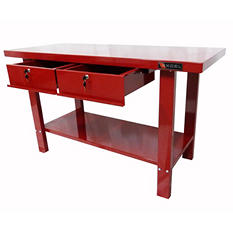 "Excel Red Steel Work Bench 59"" x 25.2"" x 34"""