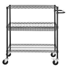 """Excel 36"""" x 18"""" x 40"""" Commercial Grade Wire Shelving Cart (Black)"""