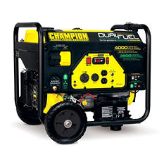 Champion 3500W / 4000W Dual Fuel (Gasoline/Propane) Electric Start Portable Generator