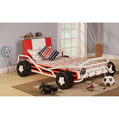 Fast Lane Car Twin Bed - White and Red