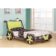 Fast Lane Car Twin Bed - Gunmetal and Green