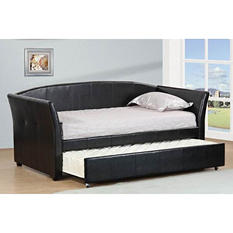 Espresso Leatherette Twin Daybed with Twin Trundle