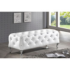 Viviene Leatherette Bench - White