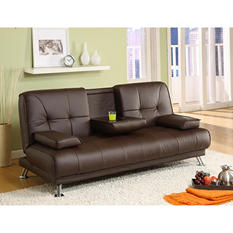 Malton Chocolate Brown Bi-Cast Leather Adjustable Sofa