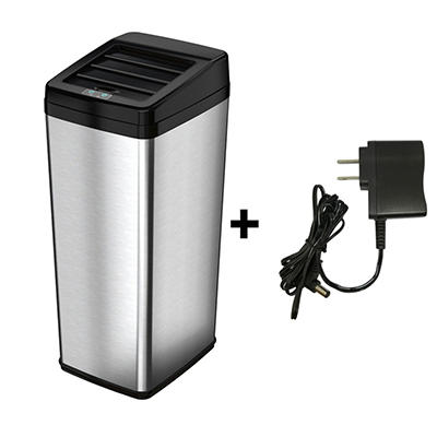 iTouchless Steel Automatic Touchless Trash Can with Space Saving Lid - 14 Gallon