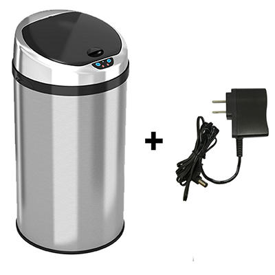 iTouchless Round Stainless Steel Automatic Sensor Touchless Trash Can - 8 Gallon