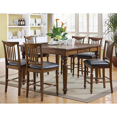 Burkhart 7 Piece Counter Height Dining Set with 11 Step Hand Applied Walnut Finish