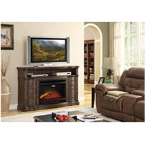 McIntyre Electric Fireplace with Media Entertainment Mantel with Advanced Flip-up Dynamic LED Display