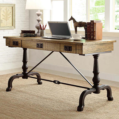 Easy Top - Flannery Desk with Antiqued Metal Base, Drawers