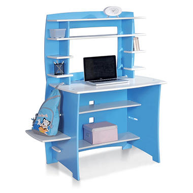 FTA Children's Desk and Hutch - Tool Free Assembly - Blue & White