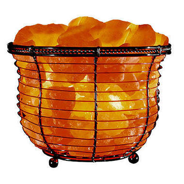 Himalayan Ionic Natural Crystal Salt Basket Lamp