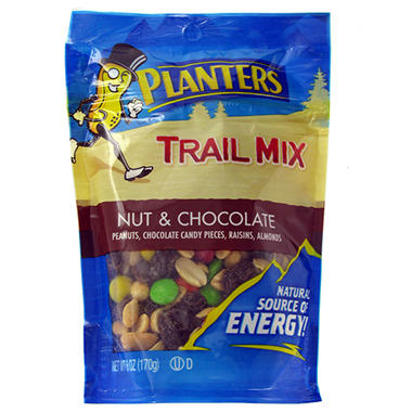 Planters Trail Mix Nut and Chocolate Tube - 6 oz. Tube - 12 ct.