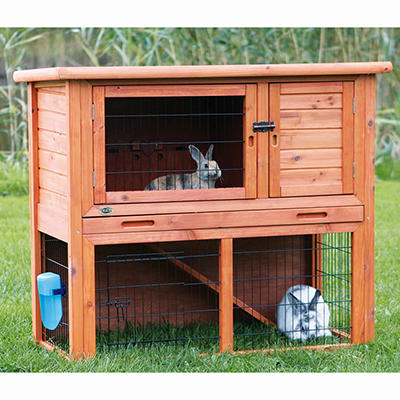 Rabbit Hutch with Sloped Roof, Medium - Glazed Pine
