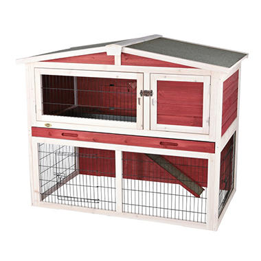 Rabbit Hutch with Peaked Roof, Medium - Red/White