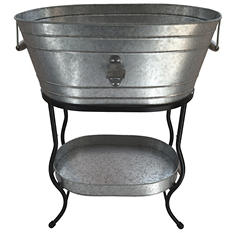 Giftburg Oblong Galvanized Party Bucket with Stand