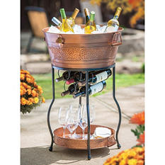 Galvanized Copper Party Bucket with Stand and Tray