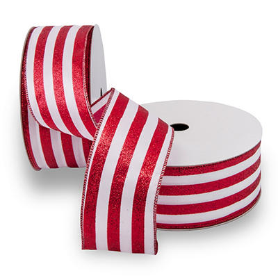Premium Wired Satin Ribbon - White Satin Ribbon with Red Stripes & Red Edge - 2 pack (50 yds. each)