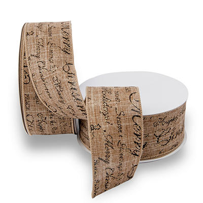 Premium Wired Linen Ribbon, Natural with Printed Black Script & Natural Edge - 2 pack (50 yds. each)