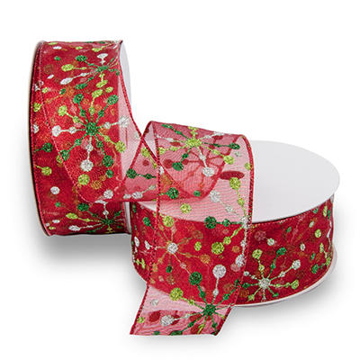 Premium Wired Metallic Ribbon, Red Metallic Ribbon with Lime and Green Dot Snowflake Motif & Red Edge - 2 pack (50 yds. each)
