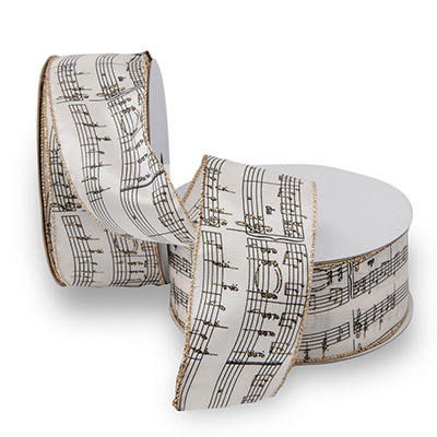 Premium Wired Ribbon, White with Music Notes - 2 pack (50 yds. each)