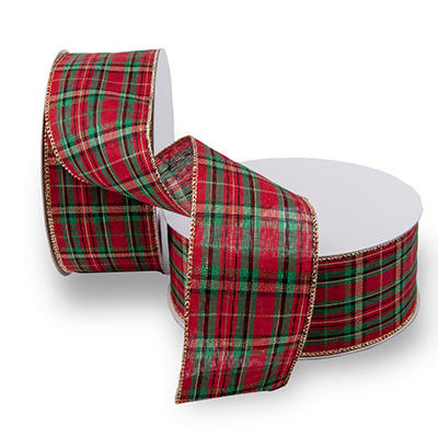 Premium Wired Ribbon, Red and Green Plaid - 2 pack (50 yds. each)