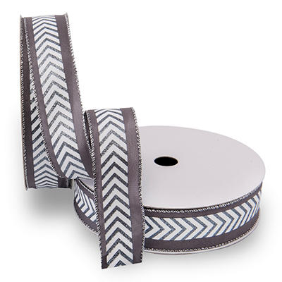 Premium Wired Satin Ribbon, Gray and White Chevron with Pewter Edge - 2 pack (50 yds. each)