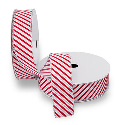 Premium Wired Satin Ribbon, White Satin Ribbon with Red Candy Cane Stripes & Silver Edge - 2 pack (50 yds. each)
