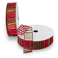 Premium Wired Satin Ribbon - Red Sheer Ribbon with Glitter Dots and Stripes in Lime, Red and Emerald with Red Edge - 2 pack (50 yds. each)
