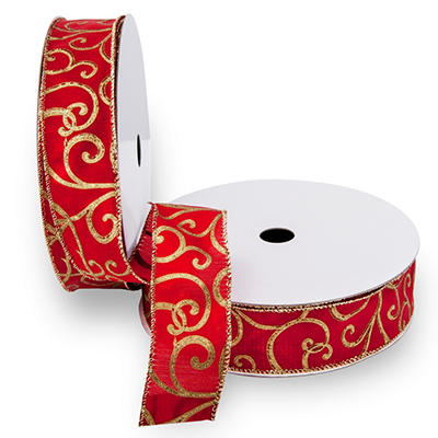 Premium Wired Satin Ribbon, Red Satin Ribbon and Printed, Gold Swirls with a Gold Edge - 2 pack (50 yds. each)