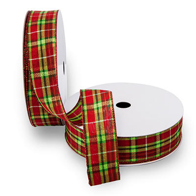 Premium Wired Satin Ribbon - Red Satin Ribbon, Lime and Emerald Plaid Pattern with Red Edge - 2 pack (50 yds. each)
