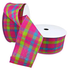 """2 Pack Premium Woven with Wire Ribbon - Plaid in Pink, Lime and Blue (2.5"""" x 50 yds. each 100 yds. total)"""
