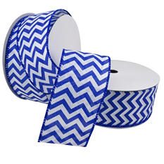 """2 Pack Premium Satin with Wire Ribbon - Blue and White Chevron (2.5"""" x 50 yds. each 100 yds. total)"""
